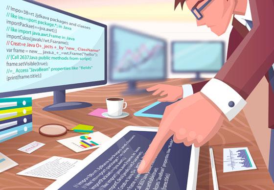 Programmer writing code