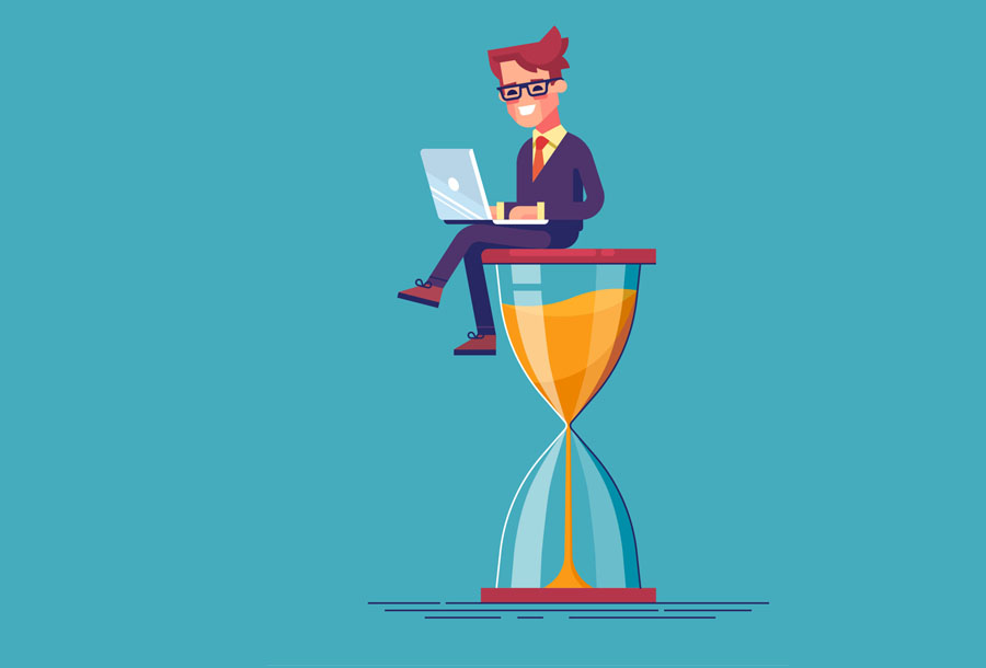 Businessman sitting on the hourglass with laptop legs crossed