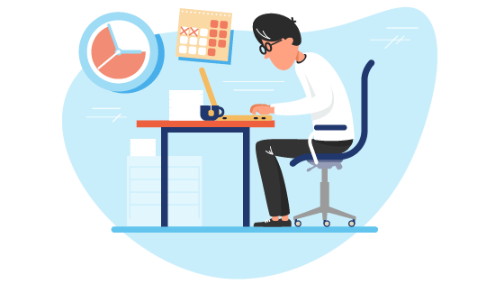 Man with glasses working