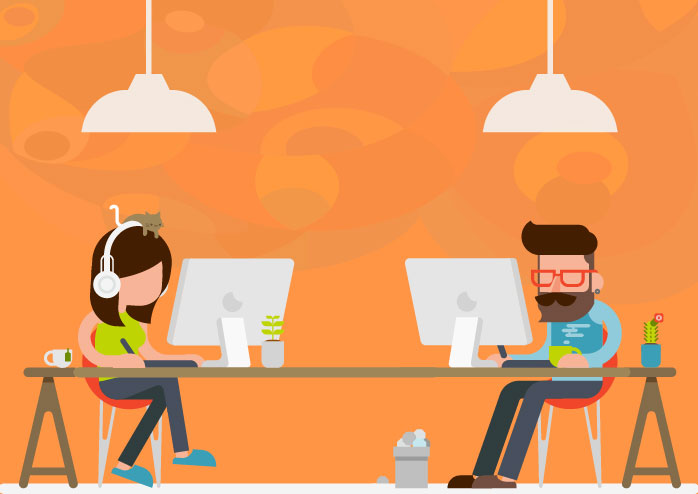 Man and woman working on their tasks