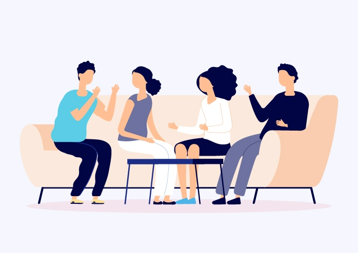 Four People having discussion