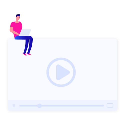 man watching daily work video