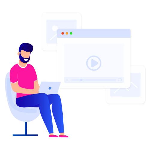 man watching daily work video on laptop